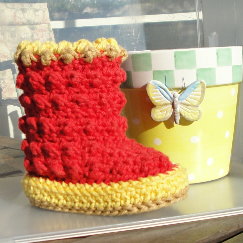 Raindrop Boots Crochet Pattern For Baby Genevivetoo Flickr