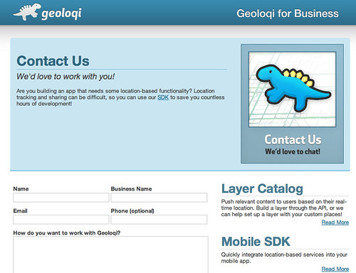 Contact Us - Geoloqi for Business | by caseorganic