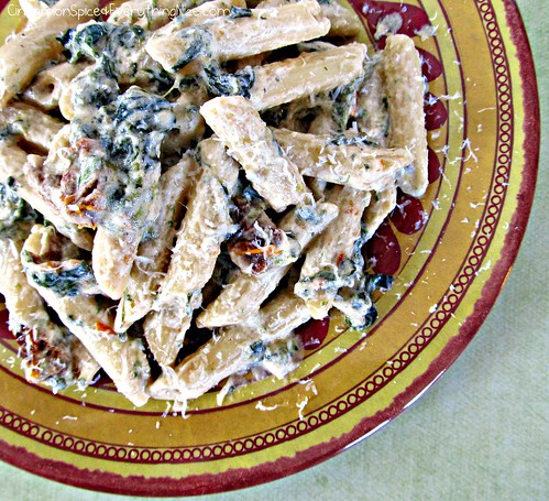 Spinach and Sun-dried Tomato Pasta | by CinnamonKitchn