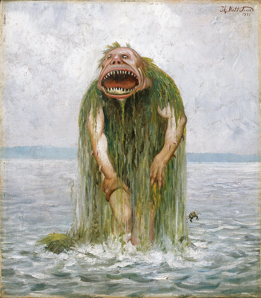 Theodor Kittelsen - The Water Troll Who Eats Only Young Girls, 1881