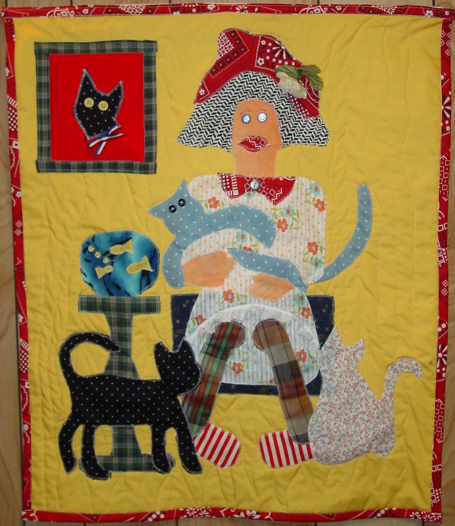 Folk Art Wall Quilt - Lady with Cats 03115   Nette   Flickr