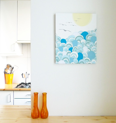 Over the sea, stitched canvas print | by Laura Amiss