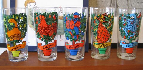 5 of the 12 days of christmas glasses by macdon512