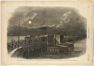 The advance guard of the Grand Army of the United States crossing the Long Bridge over the Potomac, at 2 A.M. on May 24, 1861 | by Boston Public Library