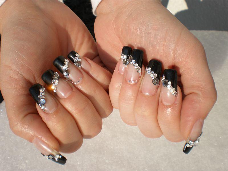Nail Art French Black Strass | Nicole | Flickr