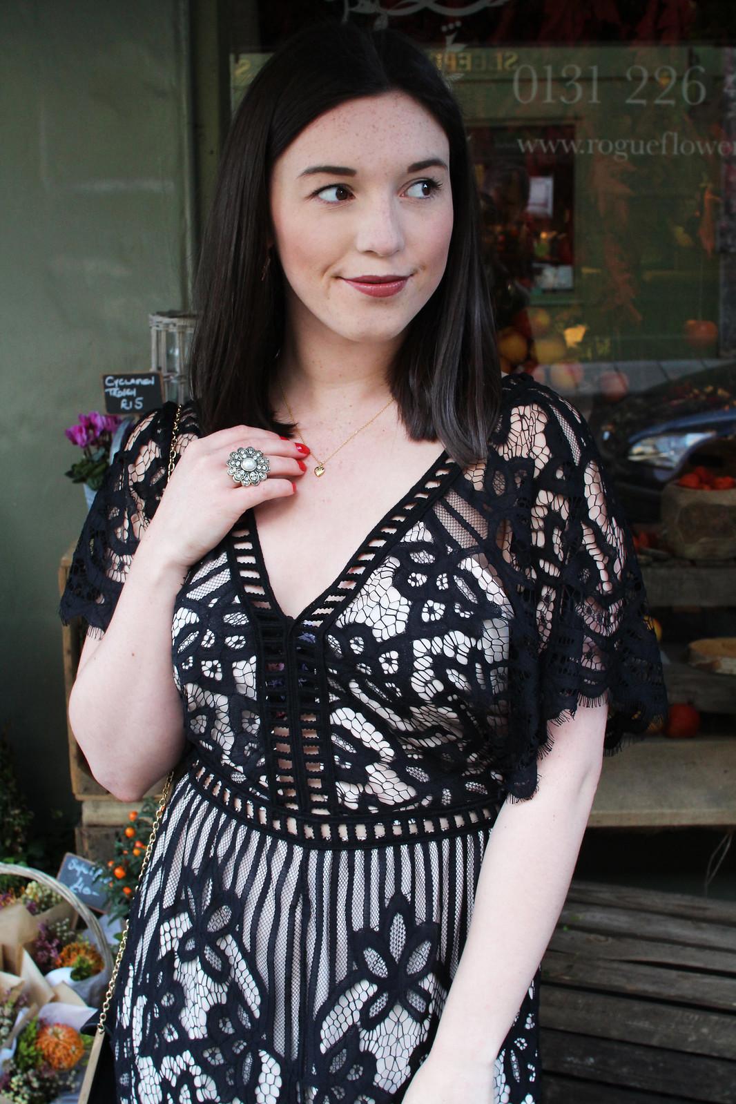 Quiz fashion lace playsuit UK fashion blogger Edinburgh