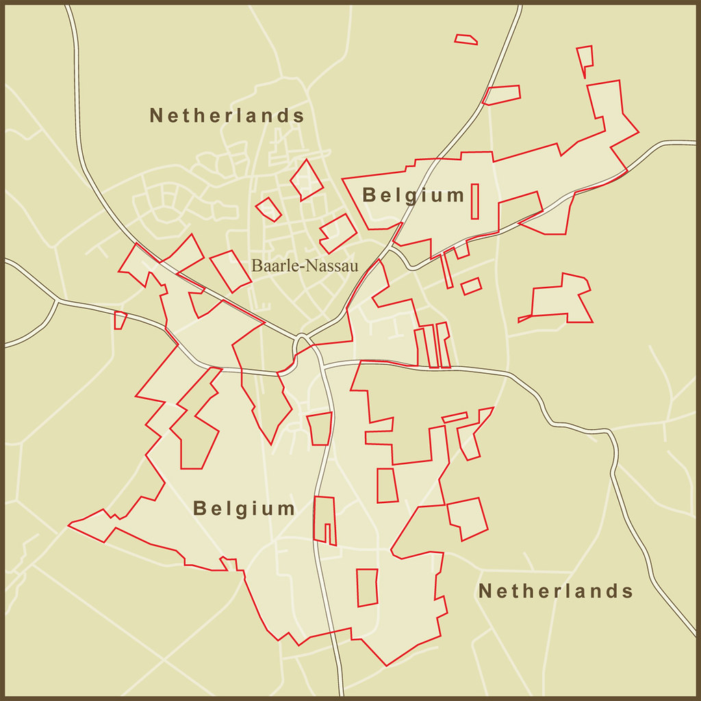 a map of the very strange borders between the netherlands and belgium at