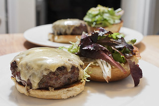 grilled straight sirloin-chuck split burger with gruyere on a sweet roll | by aarn!