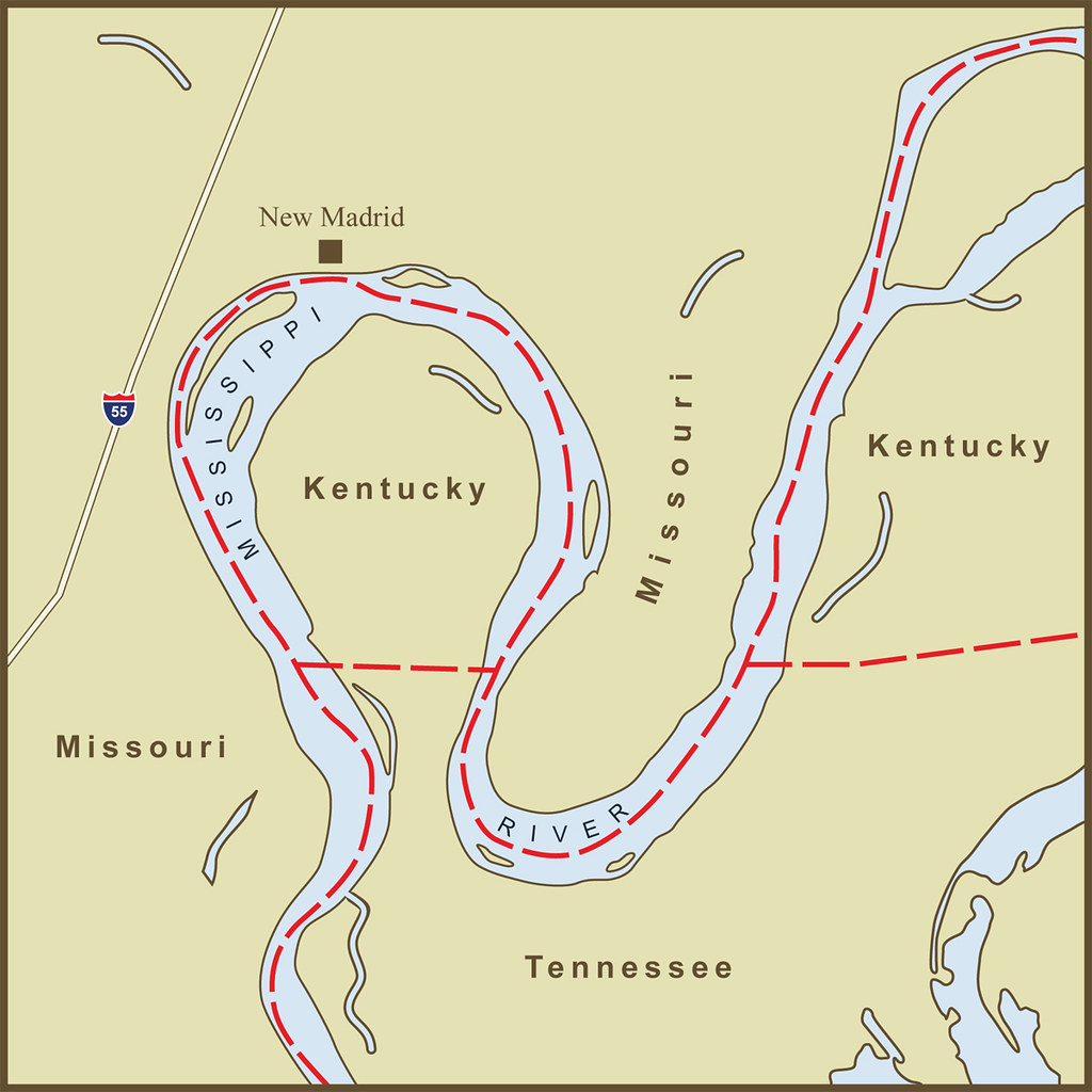 A Map Of The Strange Kentucky Border At The New Madrid Ben Flickr - Map of the mississippi