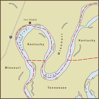 A Map of the Strange Kentucky Border at the New Madrid Bend in the Mississippi River | by amproehl