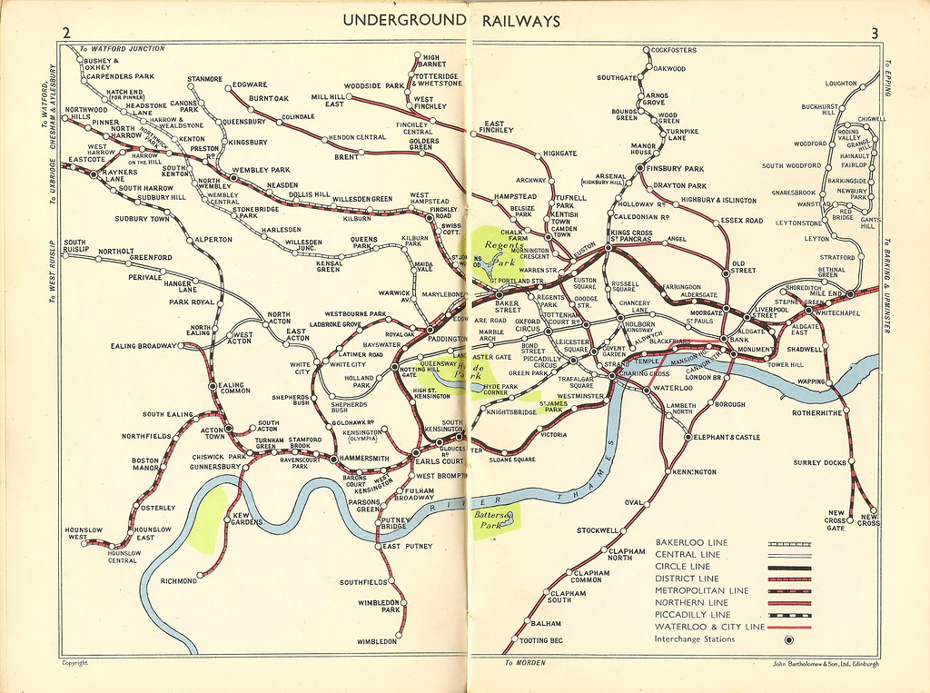 London Underground railways - tube map of 1956 | A commercia… | Flickr