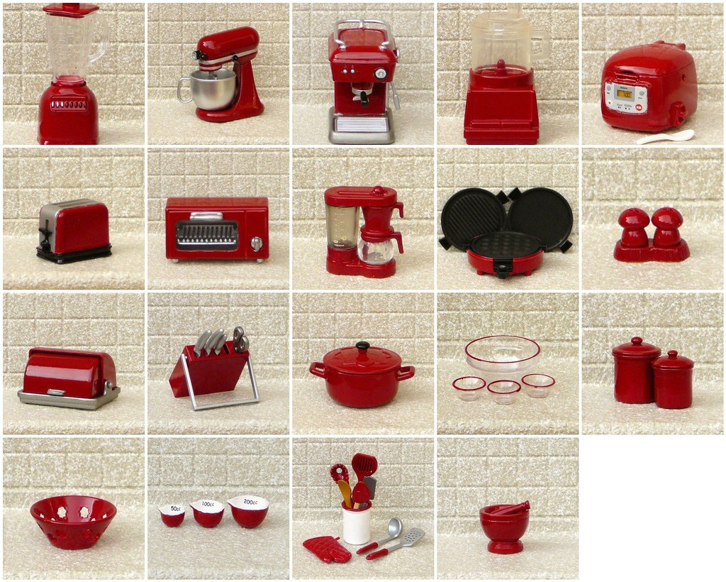 My Re Ment Red Painted Miniature Kitchen Appliances