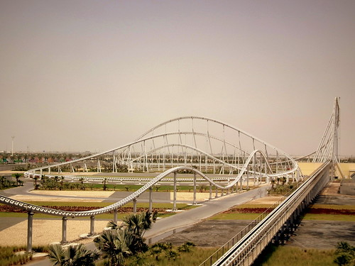 FORMULA  ROSSO THE WORLDS  FASTEST ROLLER COASTER UPTO 240 KM PER HOUR AND A HEIGHT OF 52 METRES PULLS A LOT OF G, AT FERRARI WORLD ABU DHABI JUNE 2011 | by calflier001