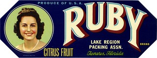 Ruby Citrus Fruit Crate Label | by clotho98