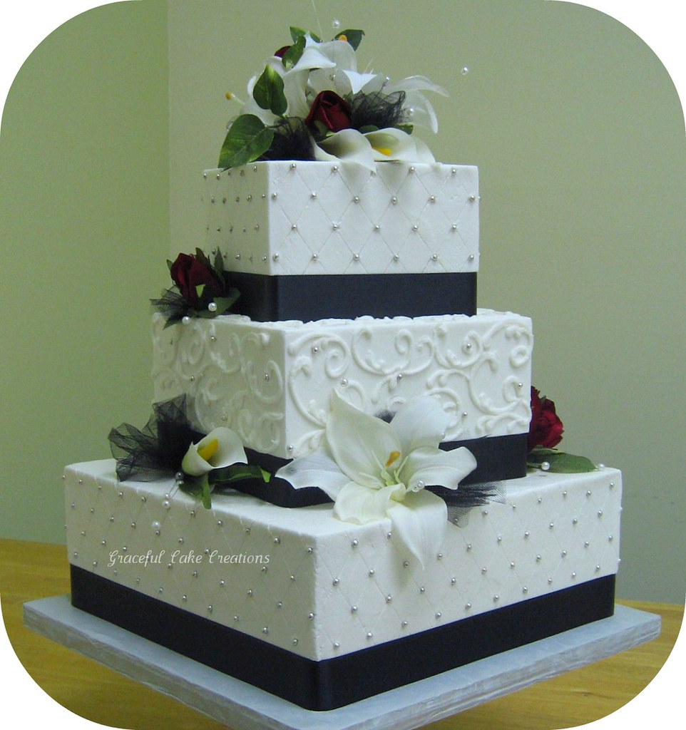 Square White And Black Wedding Cake
