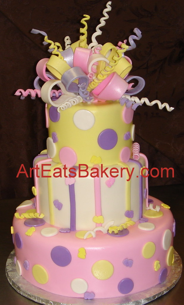 Three Tier Custom Baby Shower Cake With Yellow Pink And P Flickr