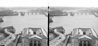 Long shot high angle docks basin, Wellesley bridge of 5 arches and navigation arch in background, Harbour, Limerick | by National Library of Ireland on The Commons