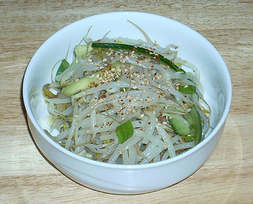 sukjunamul, soybean sprout side dish with cucumber | by puppyjuggler
