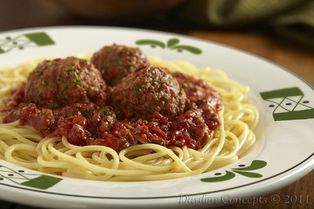 Spaghetti meatballs traditional meat sauce over - Olive garden spaghetti and meatballs ...
