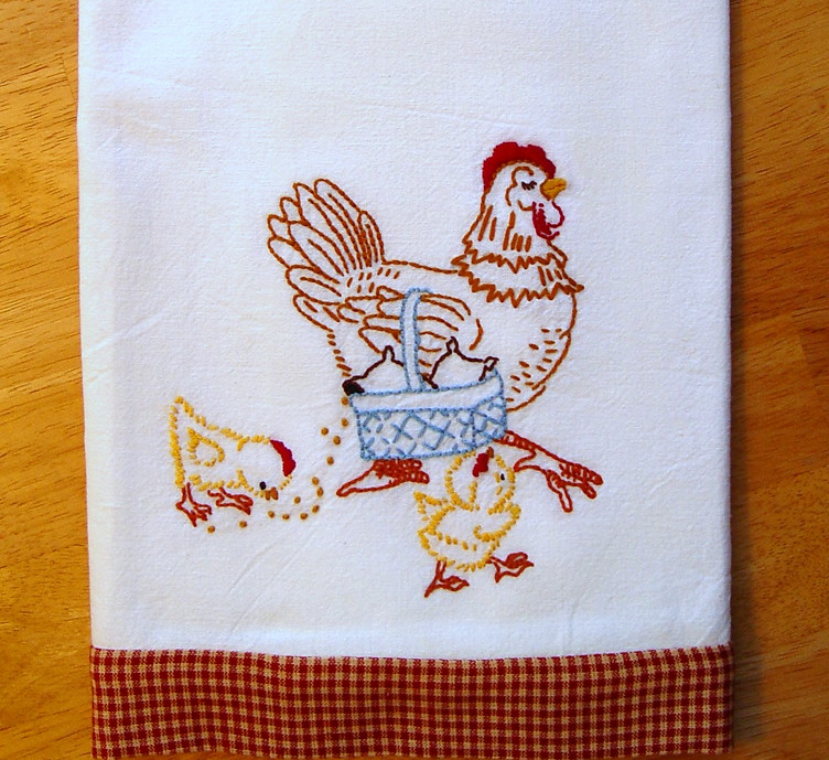 ... Mother Hen   Hand Embroidered Floursack Tea Towel With Vintage Embroidery  Design | By Needle