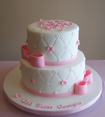 White and soft pink baptism cake | by cakespace - Beth (Chantilly Cake Designs)
