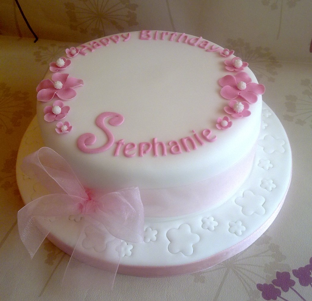 Simple White Pink Birthday Cake Creationsbypaulajane Flickr