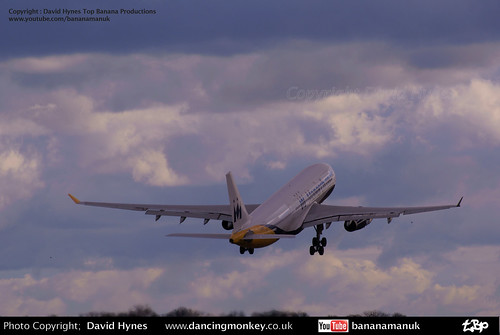 Monarch Airbus A330 takeoff into late evening showery sky | by bananamanuk79