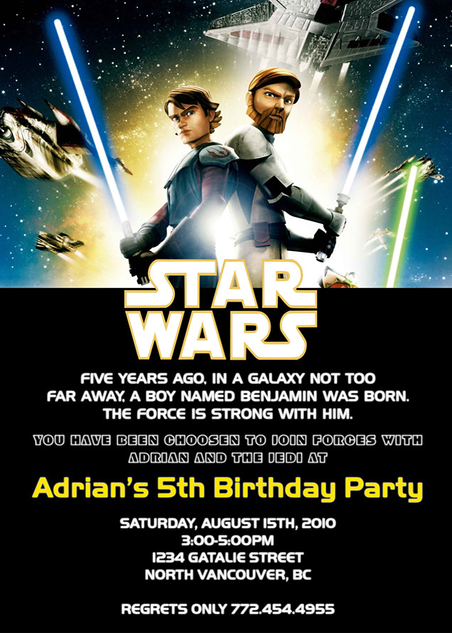 Starwars Custom Birthday Invitation