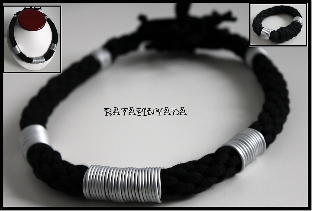 aa6de14f18549 ... Zpagetti Necklace and Bracelet Set with Grey Wire   Conjunto de  Trapillo Negro y Aluminio Gris