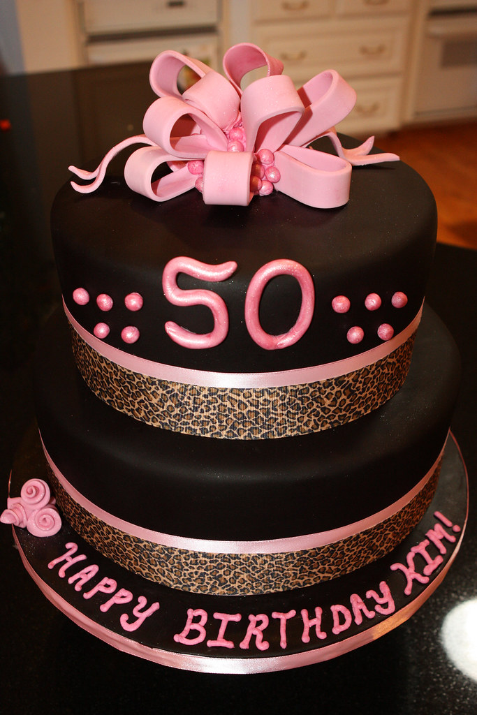 50th Pink Black And Leopard Birthday Cake Made This Cake Flickr
