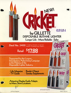 Gillette - Cricket - New Disposable Butane Lighter - salesman sales flyer - early 70's | by JasonLiebig