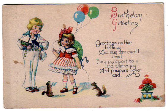 vintage birthday card boy girl sailboat squirrel oldsailro flickr