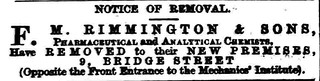 F. W. Rimmington %& Sons (Chemist) moved to Bridge Street - December | by Bradford Timeline