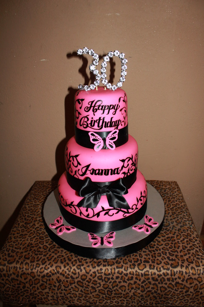 Pink Black 30th Birthday Cake CoolCakes Flickr