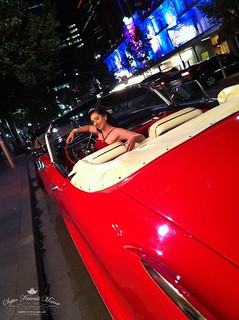 candice deville in red 57 cadillac | by VintageCurrent