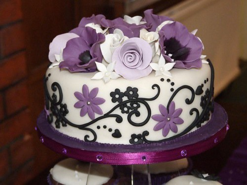 Ivory/purple/black wedding cake - www.tattoo-cakes.co.uk - Scunthorpe | by tattoo-cakes