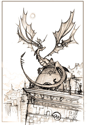 Dragon_in_the_city_by_BlueSand_Tiger | by Lilluscrivaine