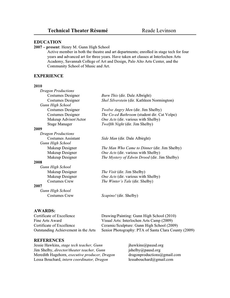 my technical theatre resume reade levinson flickr