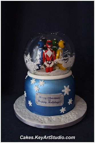 Mighty Morphin Power Rangers In A Snow Globe Cake Cakes