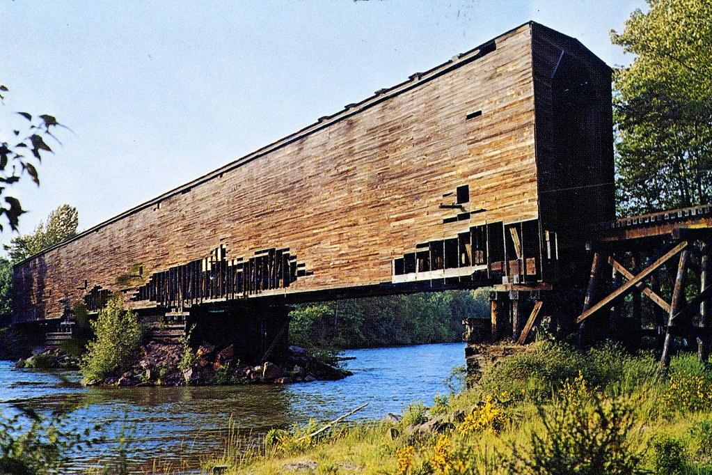 ... Postcard- Milwaukee Road RR Covered Bridge at Monroe, WA | by TrackWalker