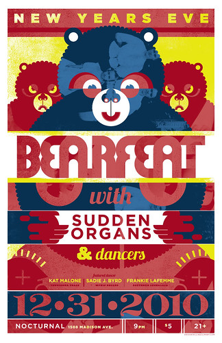Bearfeat with Sudden Organs & Dancers New Years Eve Show Poster (12-31-10) | by killingclipart