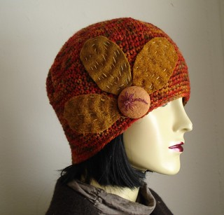 Autumn harvest hat with petals and palm tree button | by embellishedlife
