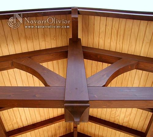 Cubierta de p rgola a 2 aguas detalles de chercha d - Cubiertas para pergolas de madera ...