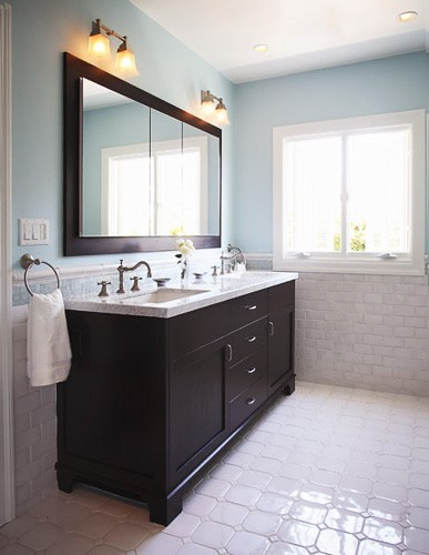 Hand Towel Holder Placement And Tile Wainscotting To Provide Backsplash Houzz By Richens