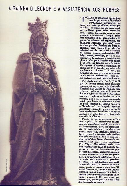 Menina e Moça, Nº 128, Maio 1958, Rainha D. Leonor