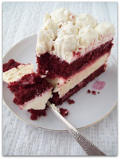 Red Velvet Cake with a Cheesecake Center | by Momma Cupcake