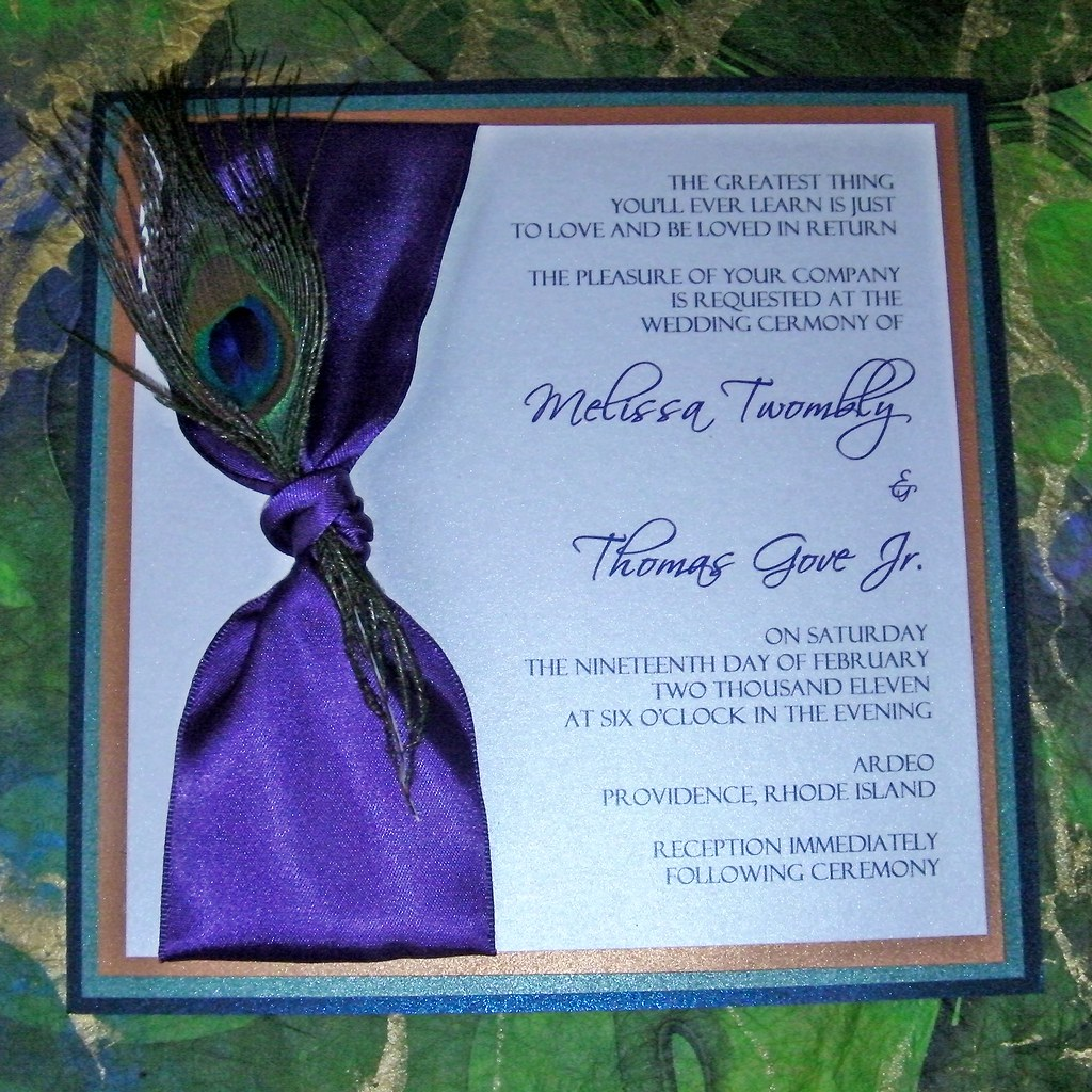 Peacock Feather Wedding Invitation Peacock Feather Wedding Flickr