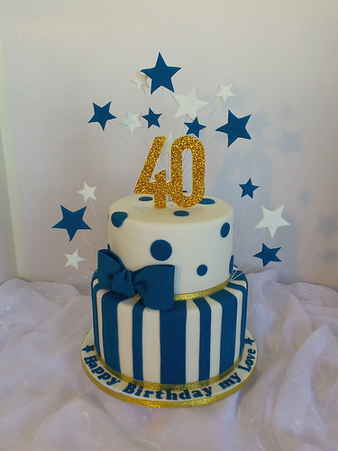40th Two Tier White Navy Blue And Gold Birthday Cake Flickr