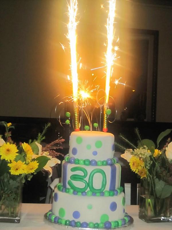 Polka Dot 30th Birthday Cake With Sparklers