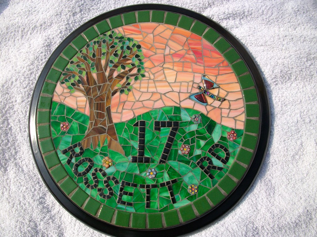 Mosaic glass tile for crafts -  Stained Glass And Glass Tile Mosaic House Number Number 17 Grouted By Fiona